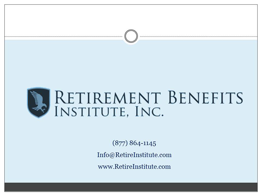 Retirement Benefits Institute - closing