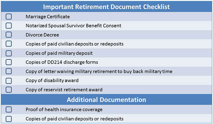 important retirement document checklist retirement benefits